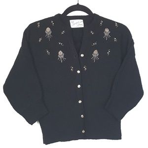 Vtg 1950s Hand Beaded Wool Cardigan Sweater